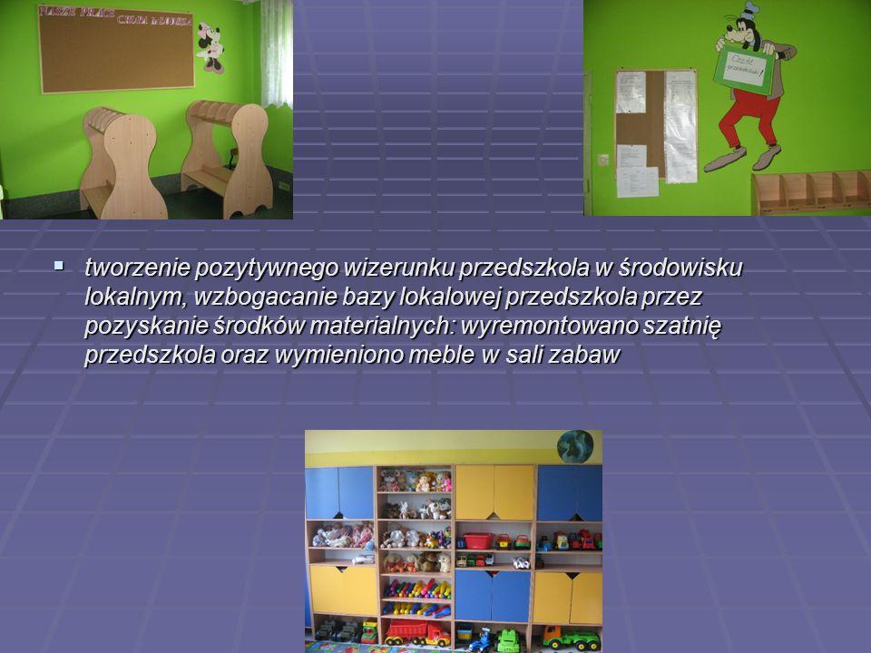 tworzenie pozytywnego wizerunku przedszkola w środowisku lokalnym, wzbogacanie bazy lokalowej przedszkola przez pozyskanie środków materialnych: wyremontowano szatnię przedszkola oraz wymieniono meble w sali zabaw