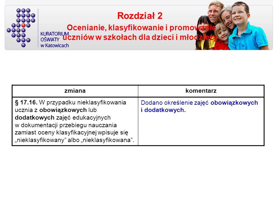 Rozdział 2 Ocenianie, klasyfikowanie i promowanie uczniów w szkołach dla dzieci i młodzieży