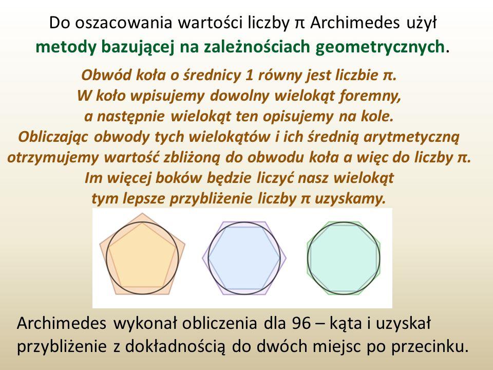 Do oszacowania wartości liczby π Archimedes użył