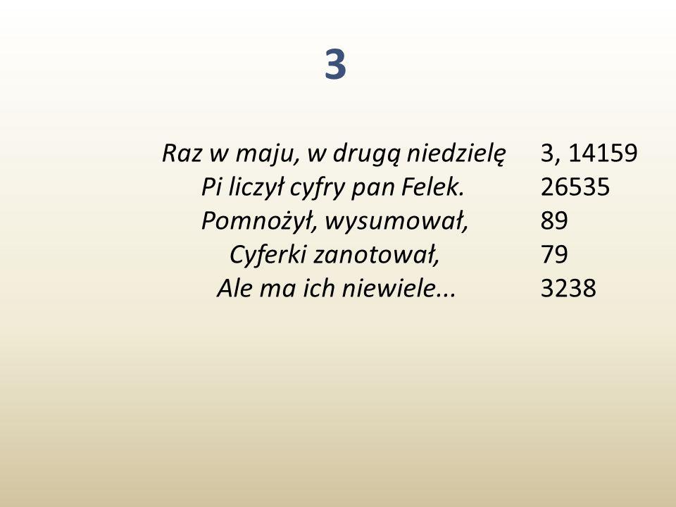 3 Raz w maju, w drugą niedzielę Pi liczył cyfry pan Felek.