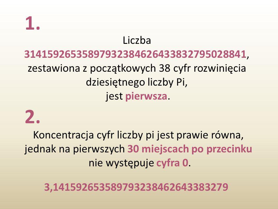 1. Liczba 31415926535897932384626433832795028841, zestawiona z początkowych 38 cyfr rozwinięcia dziesiętnego liczby Pi,