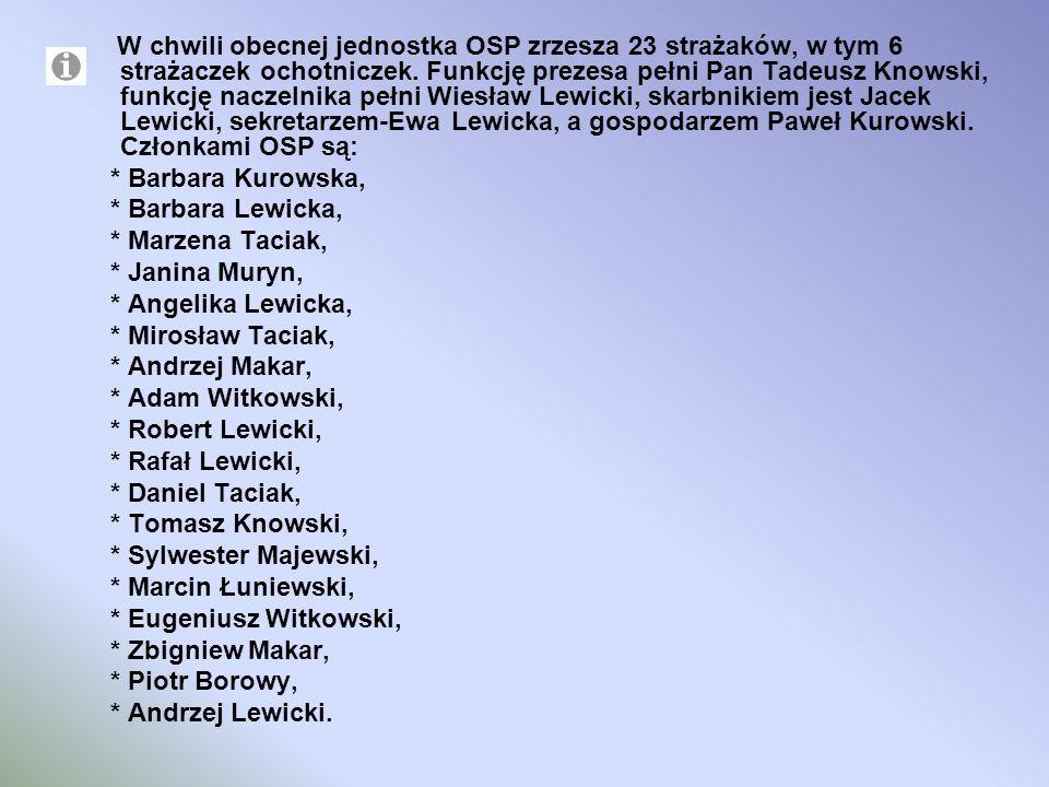W chwili obecnej jednostka OSP zrzesza 23 strażaków, w tym 6 strażaczek ochotniczek. Funkcję prezesa pełni Pan Tadeusz Knowski, funkcję naczelnika pełni Wiesław Lewicki, skarbnikiem jest Jacek Lewicki, sekretarzem-Ewa Lewicka, a gospodarzem Paweł Kurowski. Członkami OSP są: