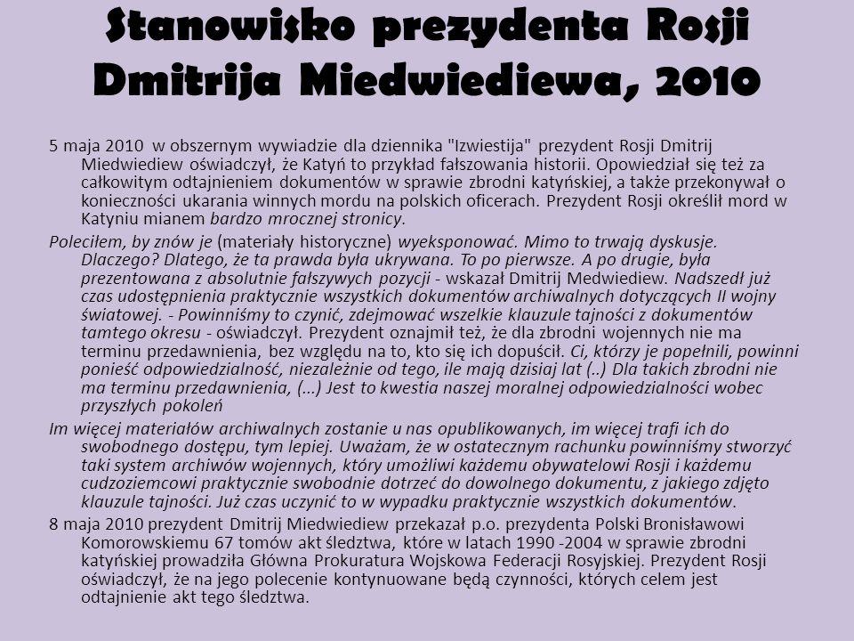 Stanowisko prezydenta Rosji Dmitrija Miedwiediewa, 2010