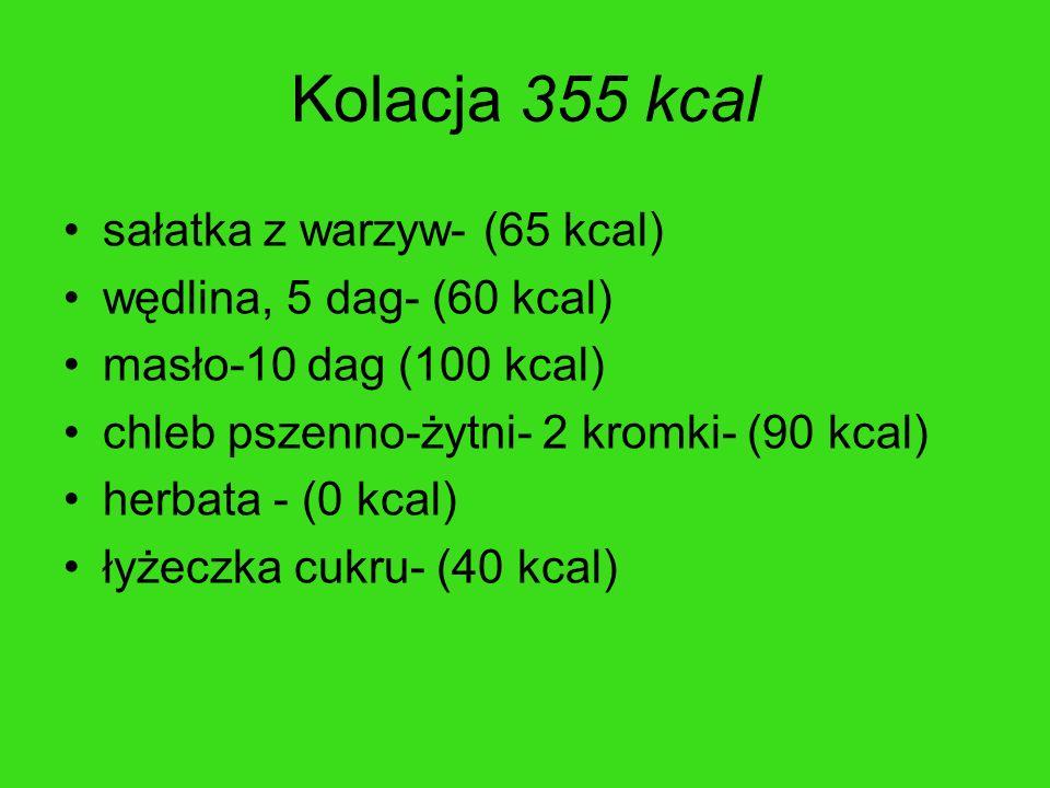 Kolacja 355 kcal sałatka z warzyw- (65 kcal) wędlina, 5 dag- (60 kcal)
