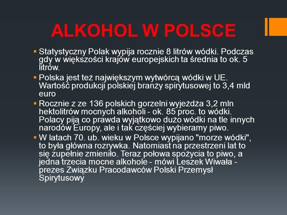 ALKOHOL W POLSCE Statystyczny Polak wypija rocznie 8 litrów wódki. Podczas gdy w większości krajów europejskich ta średnia to ok. 5 litrów.