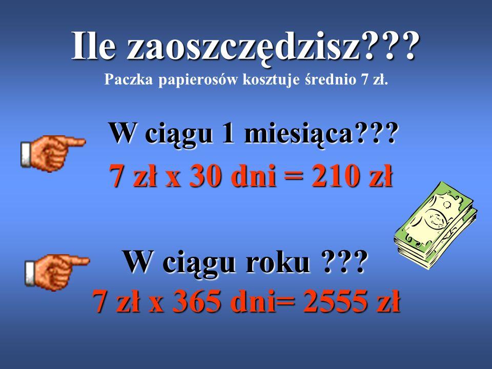 Ile zaoszczędzisz Paczka papierosów kosztuje średnio 7 zł.