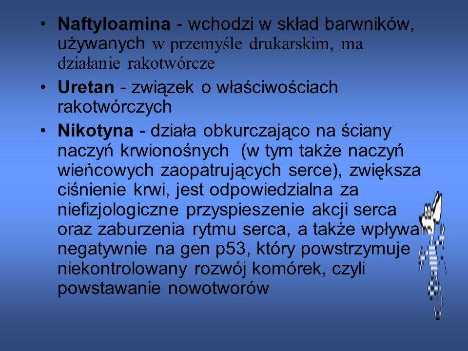 Naftyloamina - wchodzi w skład barwników, używanych w przemyśle drukarskim, ma działanie rakotwórcze