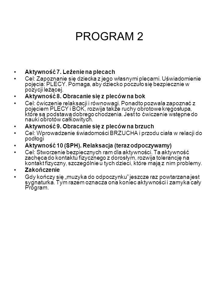 PROGRAM 2 Aktywność 7. Leżenie na plecach