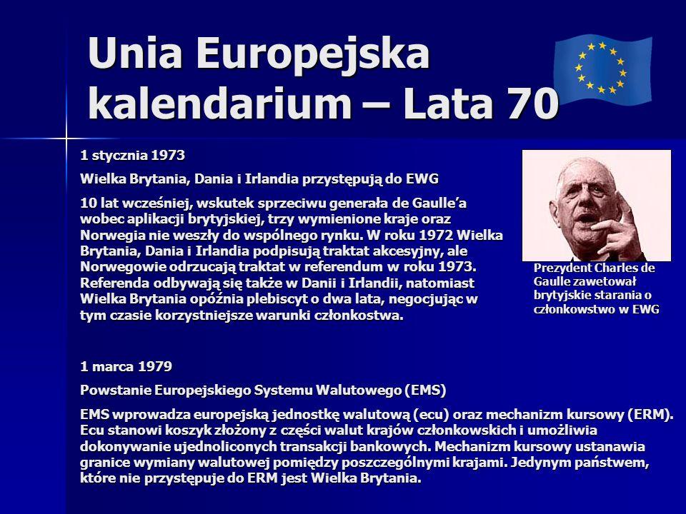 Unia Europejska kalendarium – Lata 70