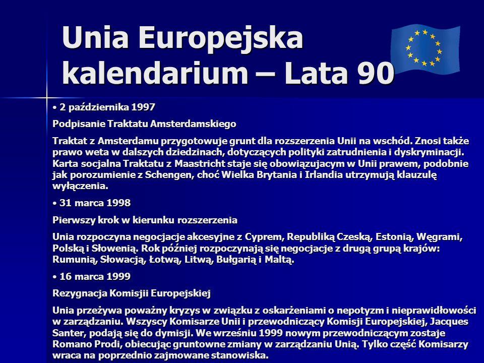 Unia Europejska kalendarium – Lata 90
