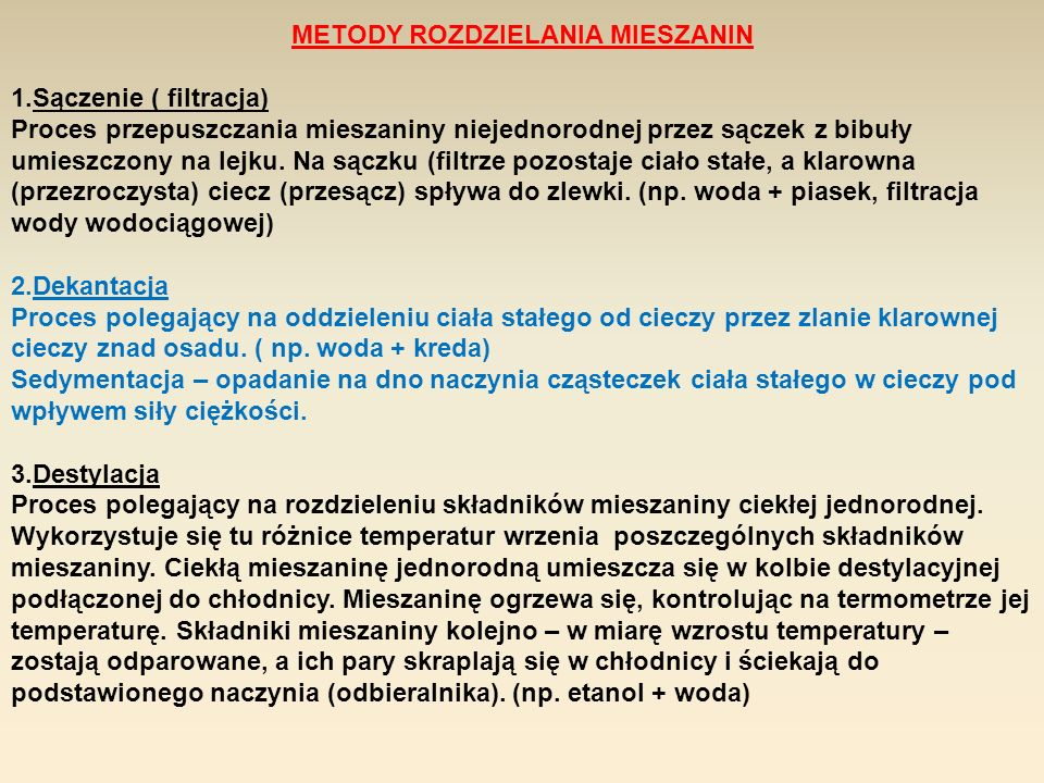 METODY ROZDZIELANIA MIESZANIN