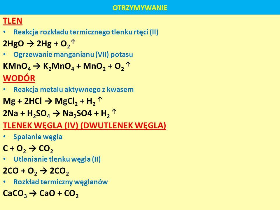 TLENEK WĘGLA (IV) (DWUTLENEK WĘGLA) C + O2 → CO2 2CO + O2 → 2CO2