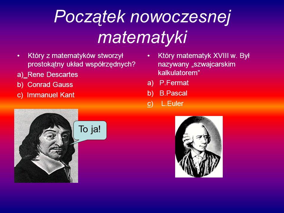 Początek nowoczesnej matematyki