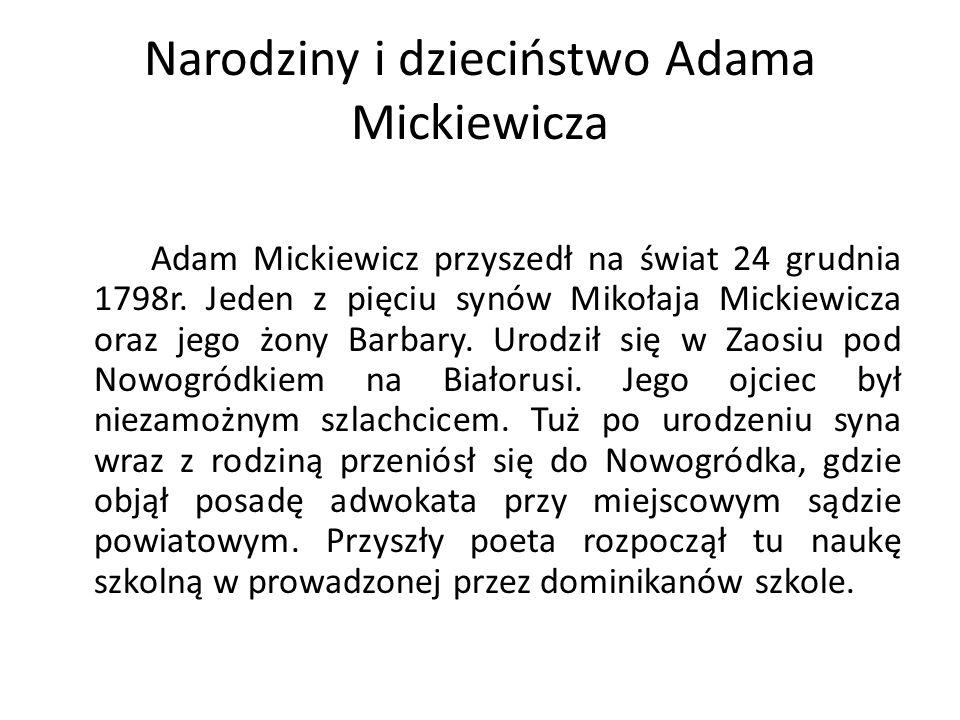 Narodziny i dzieciństwo Adama Mickiewicza
