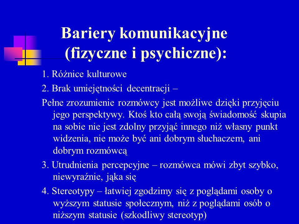 Bariery komunikacyjne (fizyczne i psychiczne):