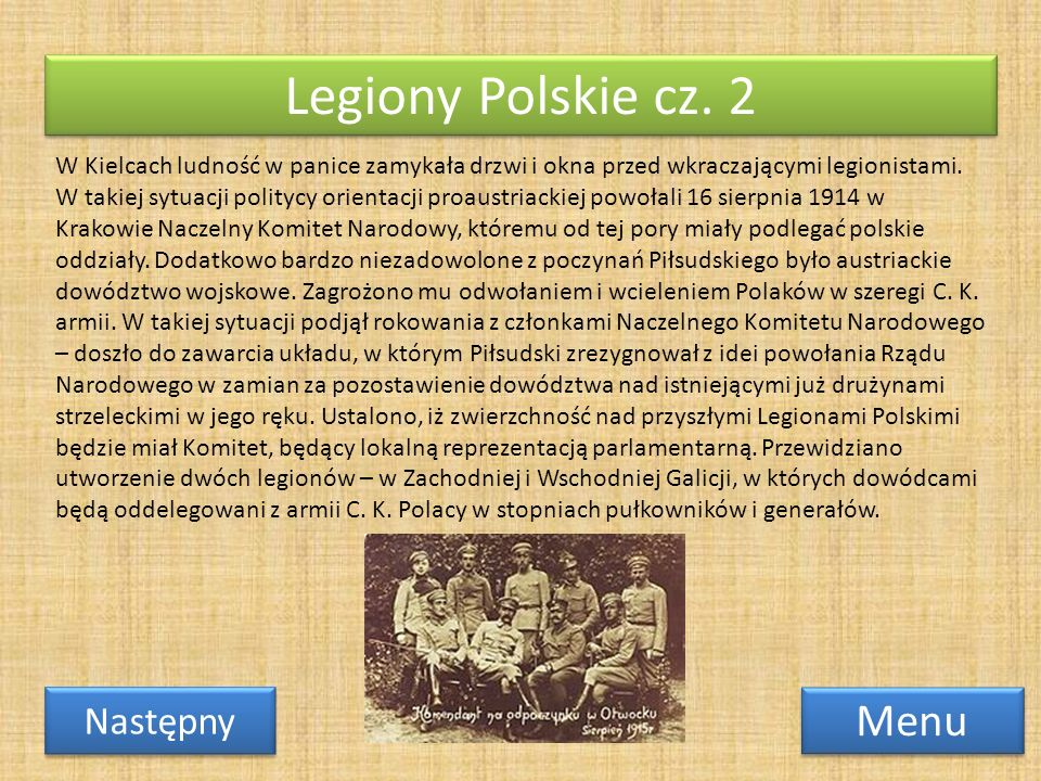 Legiony Polskie cz. 2 Menu Następny