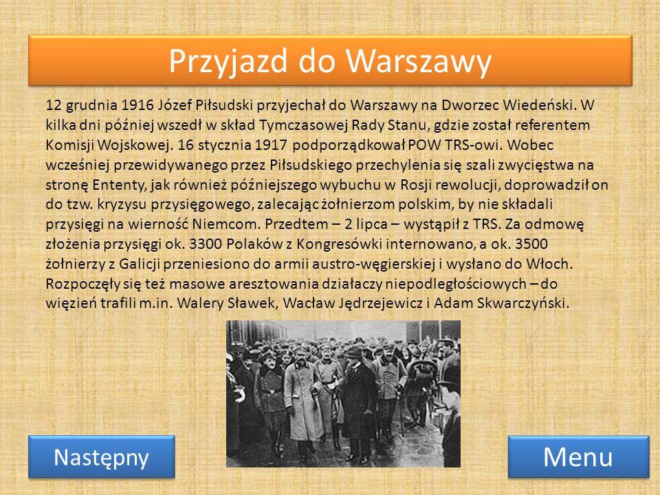 Przyjazd do Warszawy Menu Następny