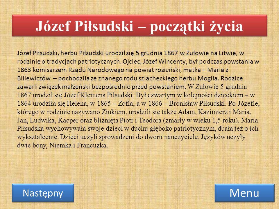 Józef Piłsudski – początki życia