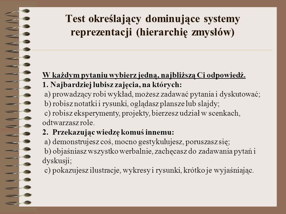 Test określający dominujące systemy reprezentacji (hierarchię zmysłów)