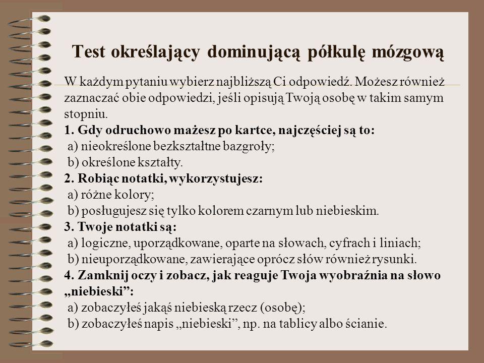 Test określający dominującą półkulę mózgową