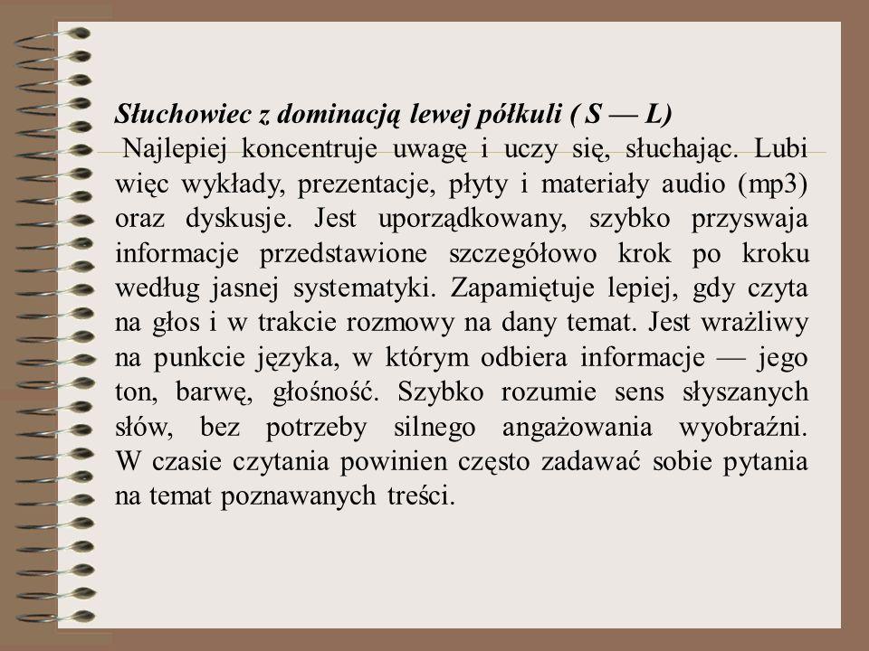 Słuchowiec z dominacją lewej półkuli ( S — L)