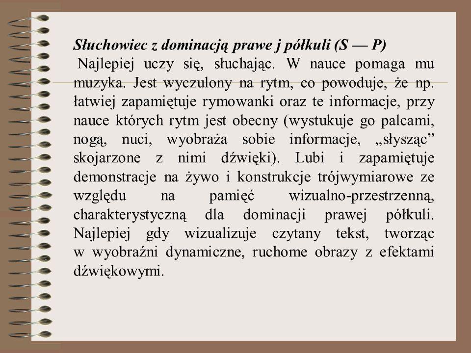 Słuchowiec z dominacją prawe j półkuli (S — P)