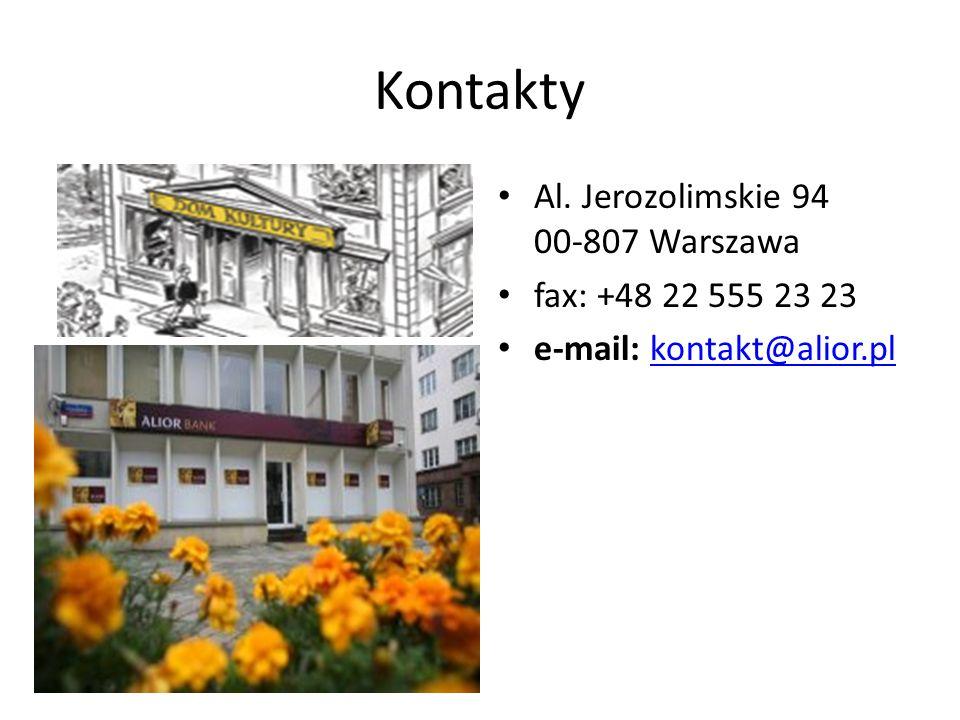 Kontakty Al. Jerozolimskie 94 00-807 Warszawa fax: +48 22 555 23 23
