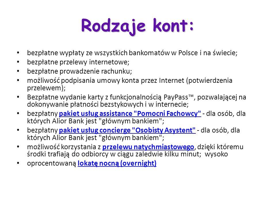 Rodzaje kont: bezpłatne wypłaty ze wszystkich bankomatów w Polsce i na świecie; bezpłatne przelewy internetowe;