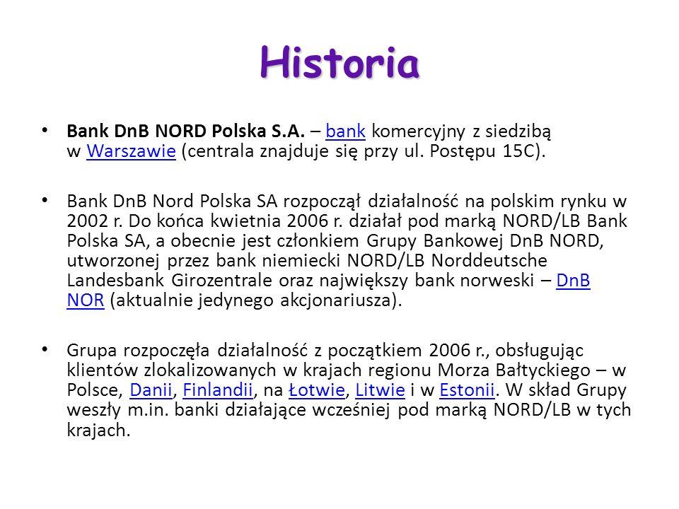 Historia Bank DnB NORD Polska S.A. – bank komercyjny z siedzibą w Warszawie (centrala znajduje się przy ul. Postępu 15C).