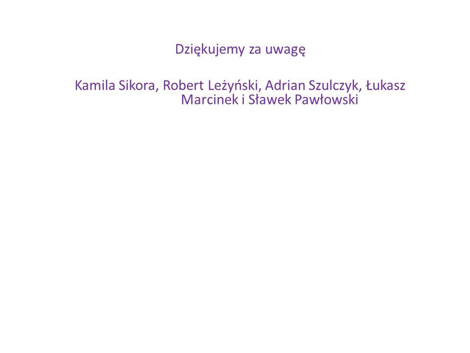 Dziękujemy za uwagę Kamila Sikora, Robert Leżyński, Adrian Szulczyk, Łukasz Marcinek i Sławek Pawłowski.