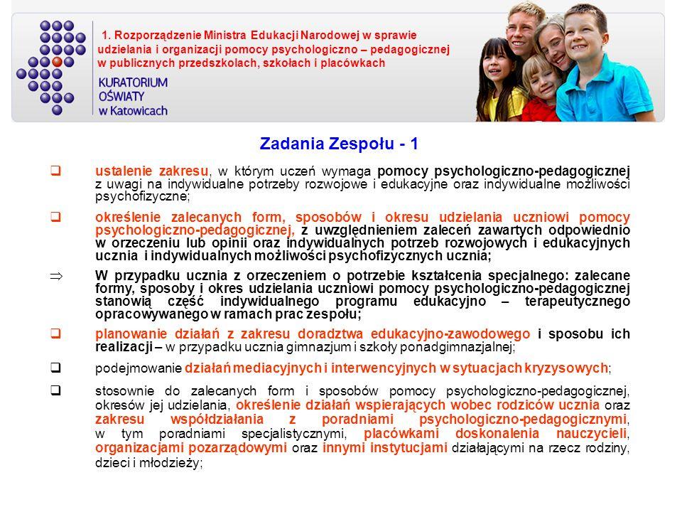 1. Rozporządzenie Ministra Edukacji Narodowej w sprawie udzielania i organizacji pomocy psychologiczno – pedagogicznej w publicznych przedszkolach, szkołach i placówkach