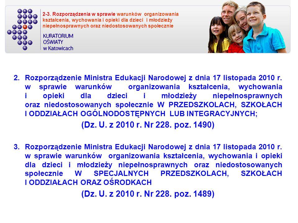 2-3. Rozporządzenia w sprawie warunków organizowania kształcenia, wychowania i opieki dla dzieci i młodzieży niepełnosprawnych oraz niedostosowanych społecznie