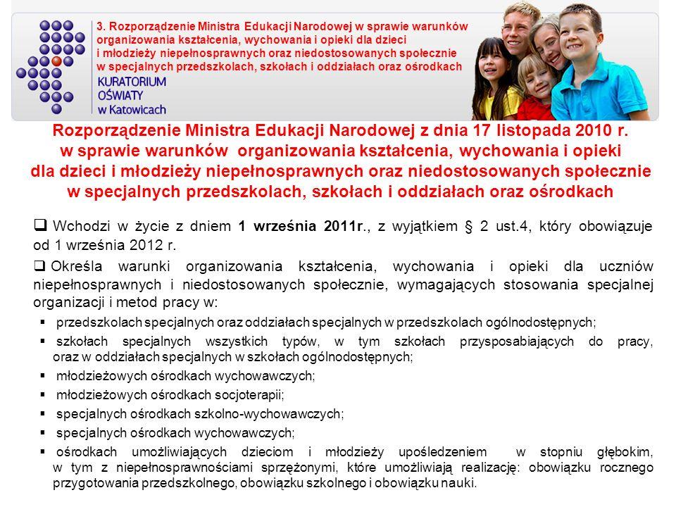 3. Rozporządzenie Ministra Edukacji Narodowej w sprawie warunków organizowania kształcenia, wychowania i opieki dla dzieci i młodzieży niepełnosprawnych oraz niedostosowanych społecznie w specjalnych przedszkolach, szkołach i oddziałach oraz ośrodkach