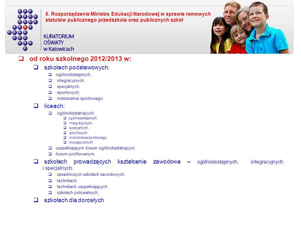 od roku szkolnego 2012/2013 w: szkołach podstawowych: liceach:
