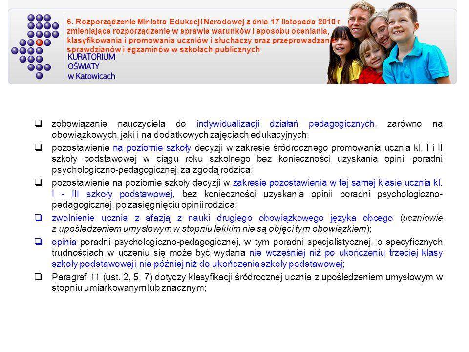 6. Rozporządzenie Ministra Edukacji Narodowej z dnia 17 listopada 2010 r. zmieniające rozporządzenie w sprawie warunków i sposobu oceniania, klasyfikowania i promowania uczniów i słuchaczy oraz przeprowadzania sprawdzianów i egzaminów w szkołach publicznych