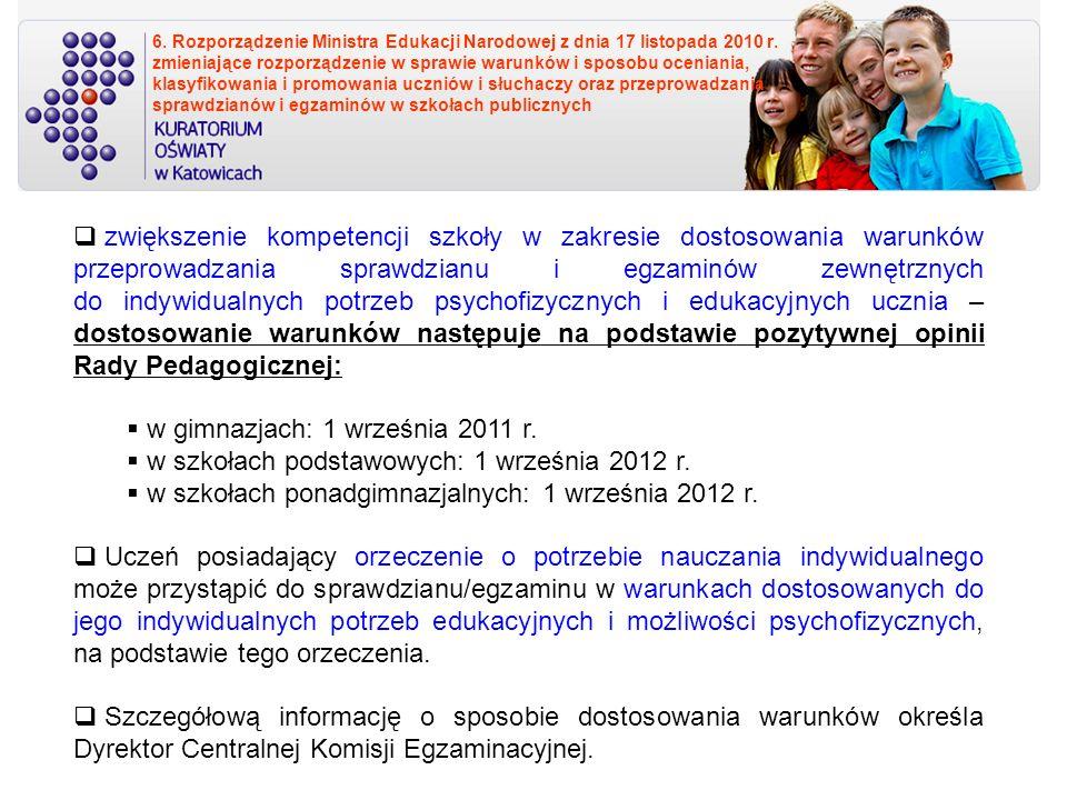 w gimnazjach: 1 września 2011 r.