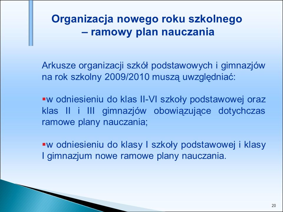 Organizacja nowego roku szkolnego – ramowy plan nauczania