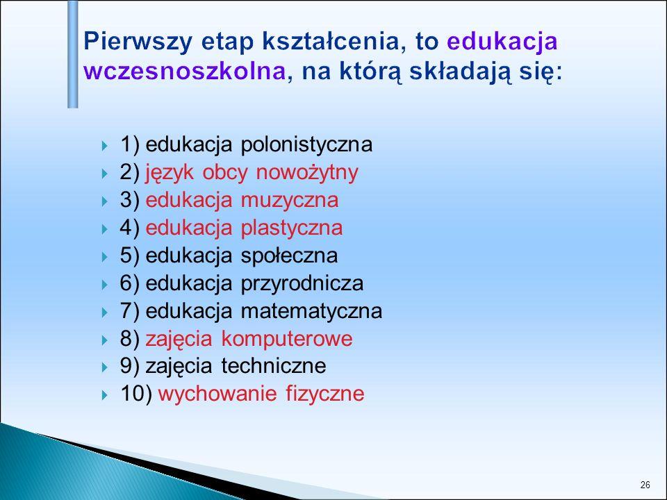 Pierwszy etap kształcenia, to edukacja wczesnoszkolna, na którą składają się: