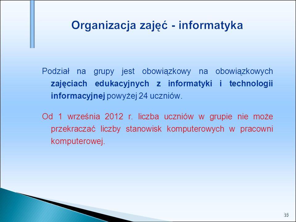 Organizacja zajęć - informatyka
