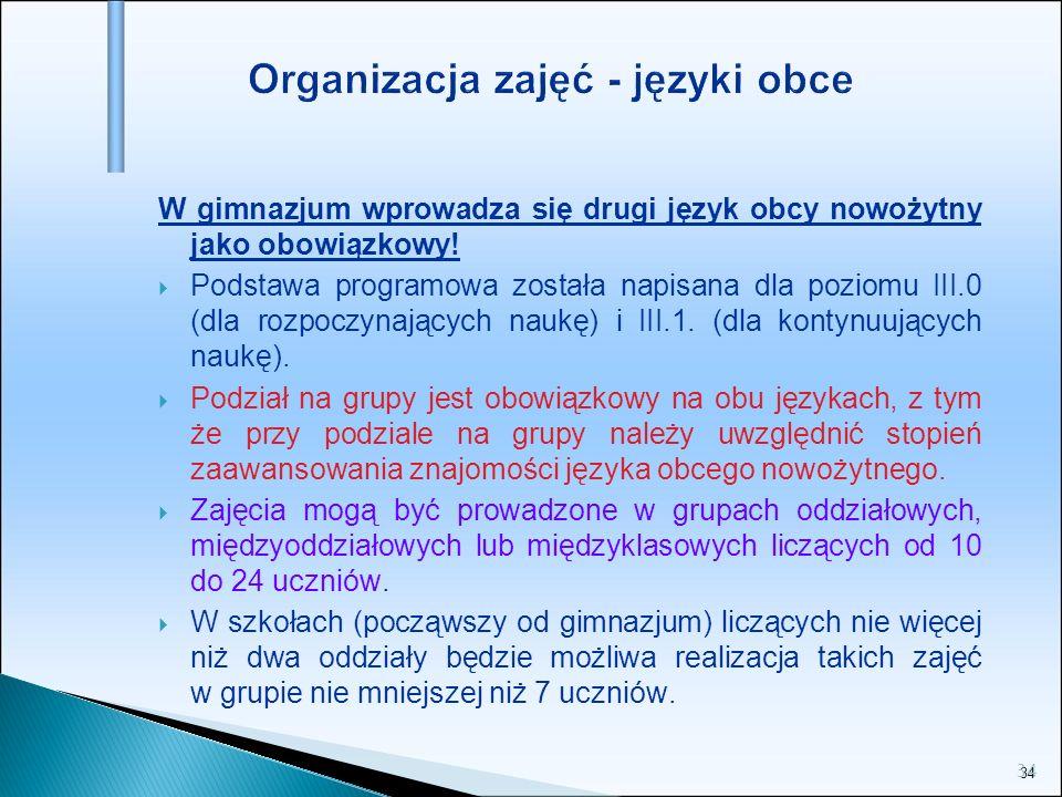 Organizacja zajęć - języki obce