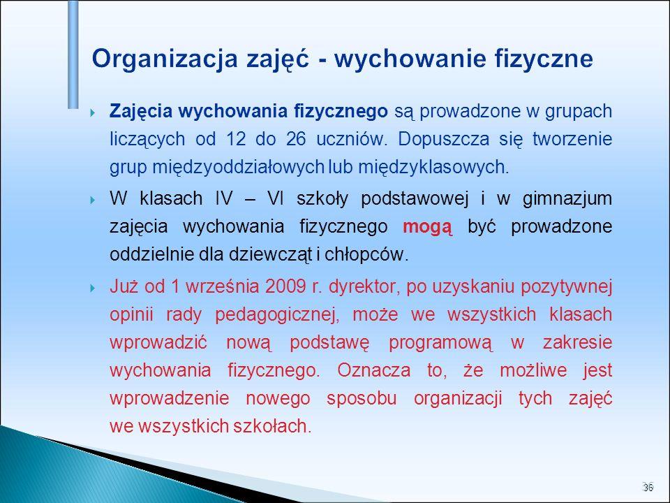 Organizacja zajęć - wychowanie fizyczne