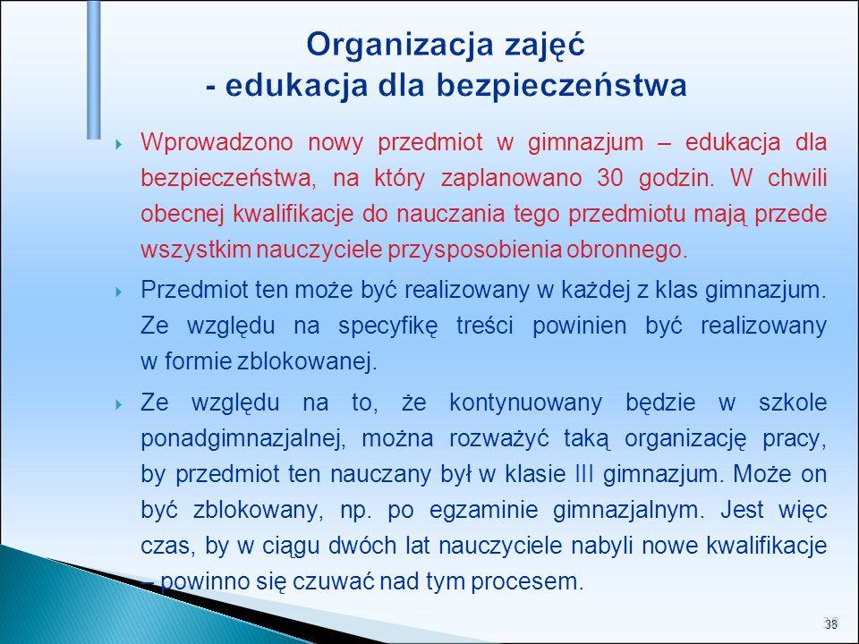 Organizacja zajęć - edukacja dla bezpieczeństwa