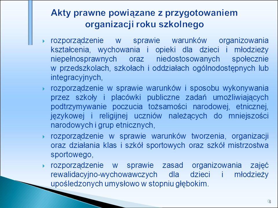 Akty prawne powiązane z przygotowaniem organizacji roku szkolnego