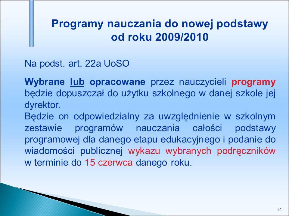 Programy nauczania do nowej podstawy