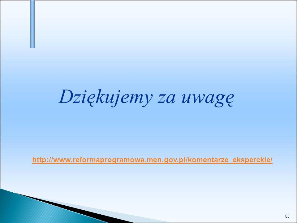 Dziękujemy za uwagę http://www.reformaprogramowa.men.gov.pl/komentarze_eksperckie/