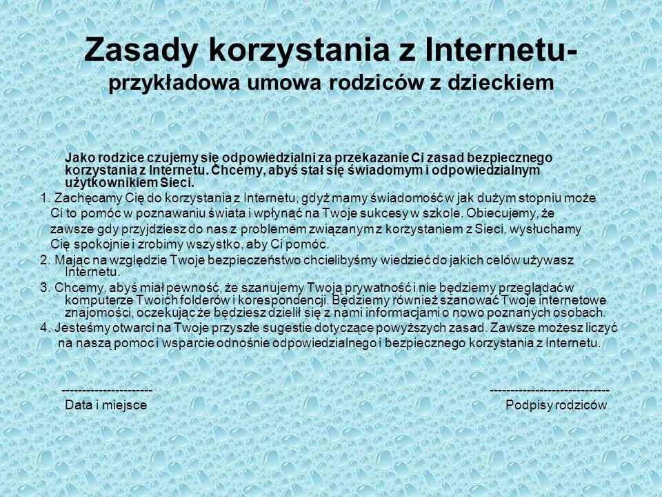 Zasady korzystania z Internetu- przykładowa umowa rodziców z dzieckiem