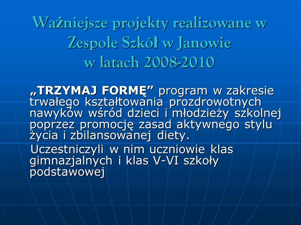 Ważniejsze projekty realizowane w Zespole Szkół w Janowie w latach 2008-2010