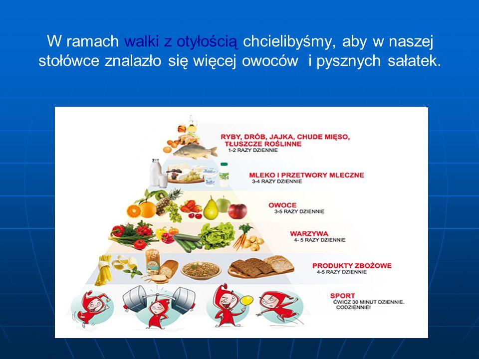 W ramach walki z otyłością chcielibyśmy, aby w naszej stołówce znalazło się więcej owoców i pysznych sałatek.
