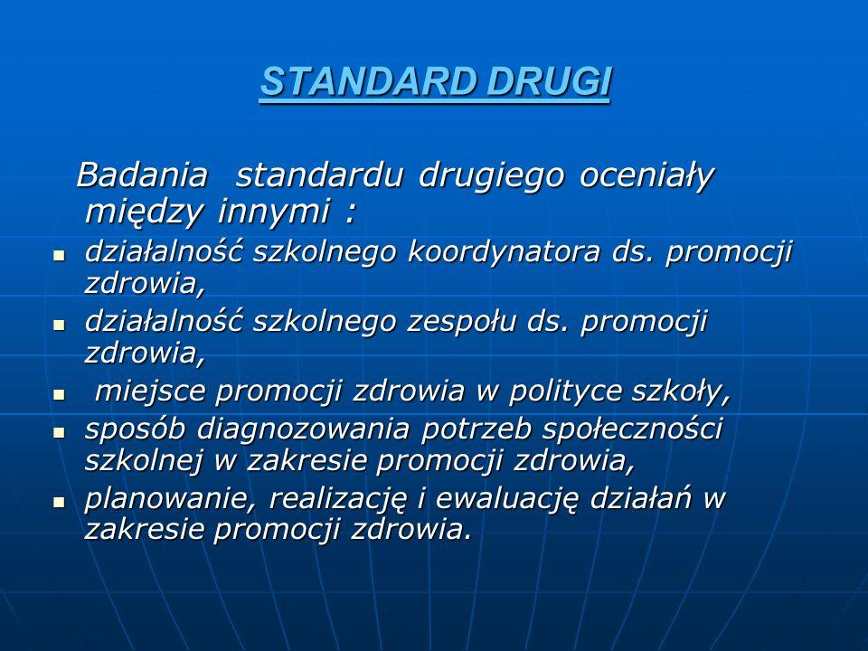 STANDARD DRUGI Badania standardu drugiego oceniały między innymi :