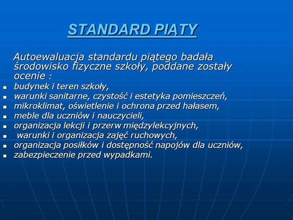 STANDARD PIĄTY Autoewaluacja standardu piątego badała środowisko fizyczne szkoły, poddane zostały ocenie :
